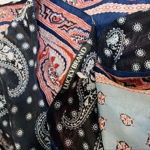 Lucky Brand Red and Blue Paisley Silk Scarf